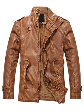 Plain Zipper Stand Collar Men's Leather Jacket