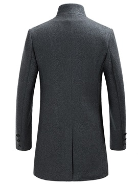 Stand Collar Plain Single-Breasted Men's Wool Coat