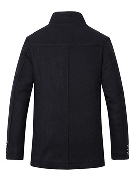 Stand Collar Plain Single-Breasted Men's Coat