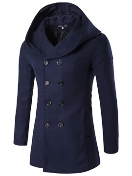 Double-Breasted Plain Hooded Men's Warm Coat