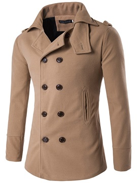 Plain Double Breasted Lapel Men's Winter Coat