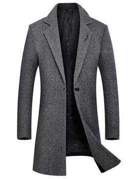 Plain Mid-Length Button Men's Woolen Coat