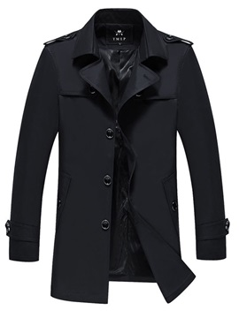 Plain Lapel Single-Breasted Men's Trench Coat