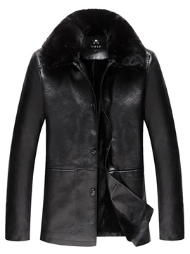 Plain Fur Lapel Men's Winter Leather Coat