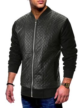 Patchwork Zipper Stand Collar Men's Casual Jacket