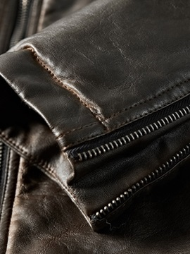 Plain Pleated Stand Collar Men's Leather Jacket