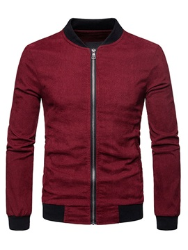 Plain Stand Collar Zipper Men's Casual Jacket