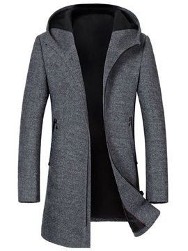 Plain Hooded Zipper Men's Winter Coat