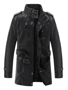 Black Stand Collar Fleece Warm Men's Leather Jacket