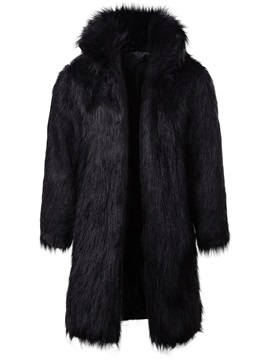 Plain Faux Fur Thick Mid-Length Men's Winter Coat