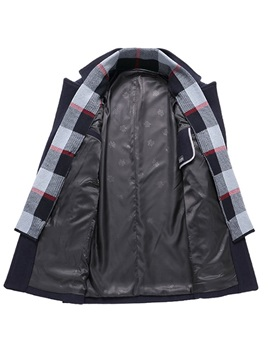 Patchwork Color Block Single-Breasted Men's Coat
