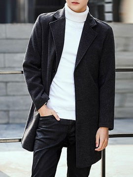Lapel Plain Single-Breasted Men's Coat