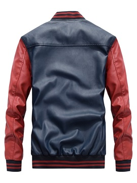 Stand Collar Color Block Zipper Men's Leather Jacket