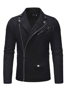 Plain Zipper Lapel Men's Fashion Jacket