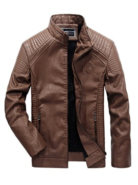 Plain Stand Collar Men's Fashion Leather Jacket