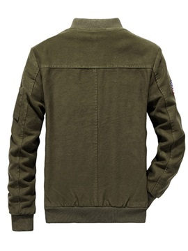 Fleece Stand Collar Zipper Men's Jacket