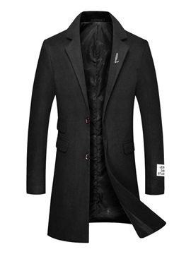 Notched Lapel Plain Casual Men's Winter Coat
