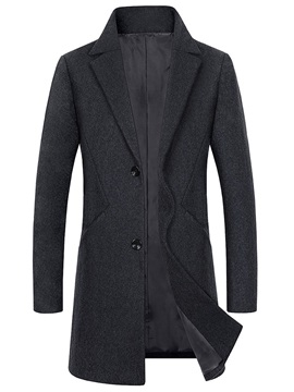 Notched Lapel Single-Breasted Men's Coat