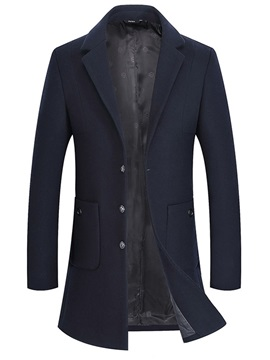Casual Notched Lapel Plain Men's Winter Coat