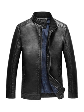 Plain Stand Collar Pocket Zipper Men's Leather Jacket