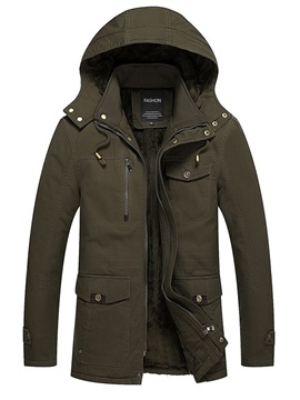 Thick Hooded Plain Loose Men's Jacket