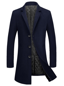 Notched Lapel Mid-Length Button Plain Men's Winter Coat