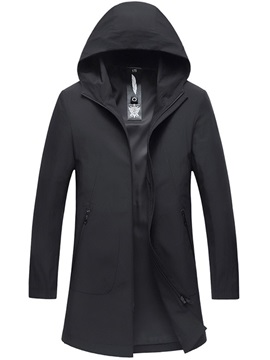 Hooded Plain Zipper Men's Trench Coat