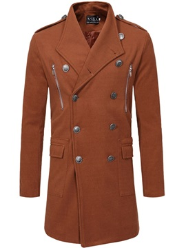 Notched Lapel Plain Double-Breasted Men's Trench Coat