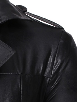 Black Plain Lapel Double-Breasted Men's Leather Jacket