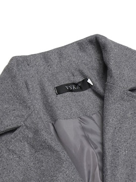 Plain Double-Breasted Mid-Length Men's Woolen Trench Coat