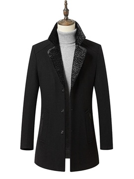 Plain Single-Breasted Slim Men's Warm Coat