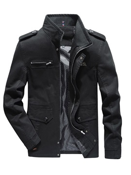 Stand Collar Plain Zipper Pocket Men's Fashion Jacket