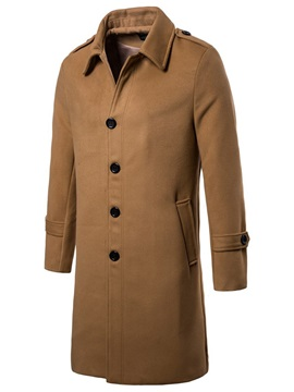 Lapel Plain Long England Style Men's Coat