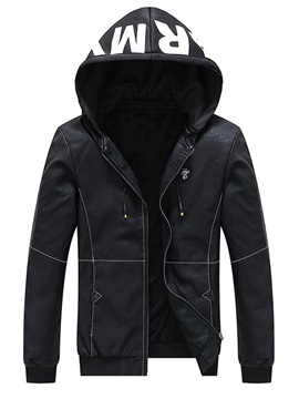 Patchwork Letter Hooded Casual Men's Leather Jacket