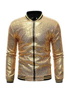 Gilding Stand Collar Sequins Loose Men's Jacket