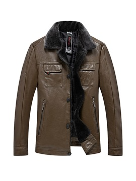 Fleece Lapel Plain Men's Leather Jacket