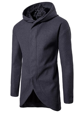 Asymmetric Hooded Mid-Length Plain Slim Men's Coat