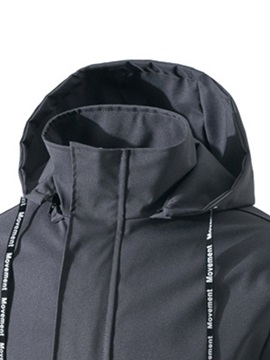 Plain Hooded Windproof Pocket Men's Jacket