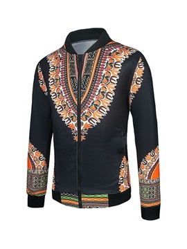 African Fashion Color Block Dashiki Print Men's Zipper Jacket