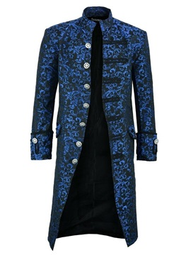 Stand Collar Color Block Floral Long Men's Trench Coat