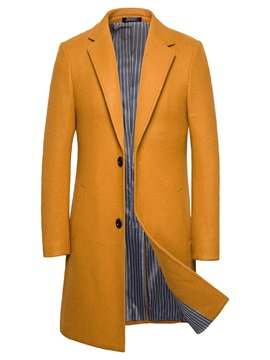Button Notched Lapel Long Plain Men's Coat