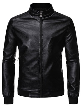 Stand Collar Zipper Men's Leather Jacket