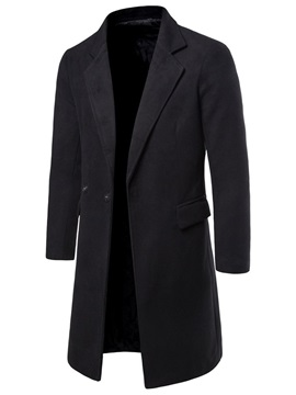 Notched Lapel Long Plain Slim Men's Coat