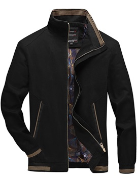 Stand Collar Thick Color Block Zipper Slim Men's Jacket