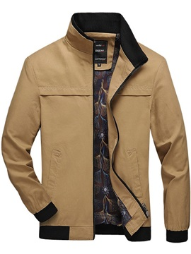 Color Block Zipper Stand Collar Thick Men's Jacket