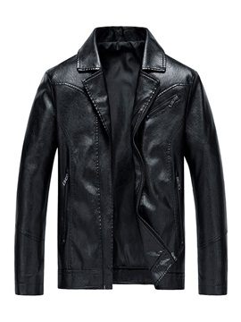 Lapel Plain Zipper European Men's Leather Jacket