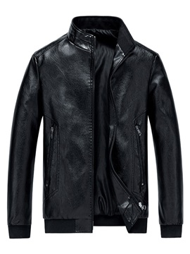 Zipper Stand Collar Plain Loose Men's Leather Jacket