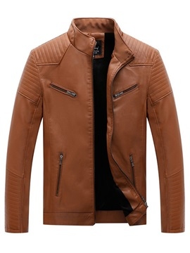 Zipper Stand Collar Plain Slim Men's Jacket
