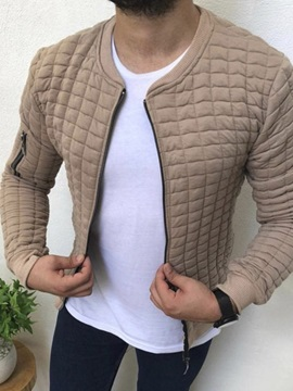 Plain Thick Zipper Stand Collar Men's Jacket