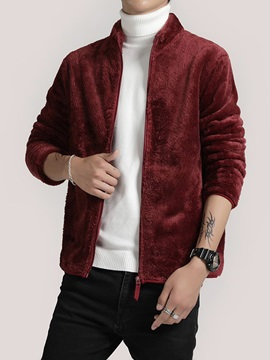 Plain Zipper Stand Collar Men's Jacket